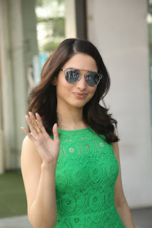Actress Tamanna Pictures in Green Lace Dress during Oopiri Song Release at Radio City  0004.jpg