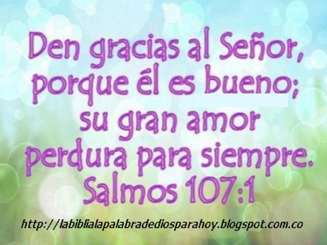 """""""Citas bíblicas de agradecimiento""""-Salmos 107 1"""