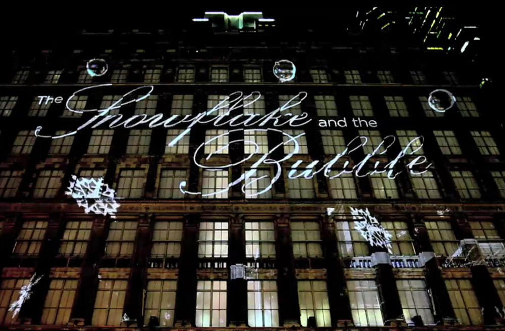 Saks fifth avenue 2011 holiday 3d projection mapping snowflake and bubble