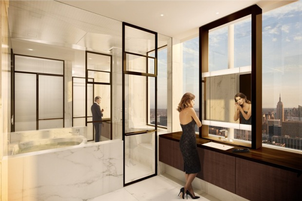 Rendering of an bathroom in One 57 by Christian de Portzamparc with incredible view of the city