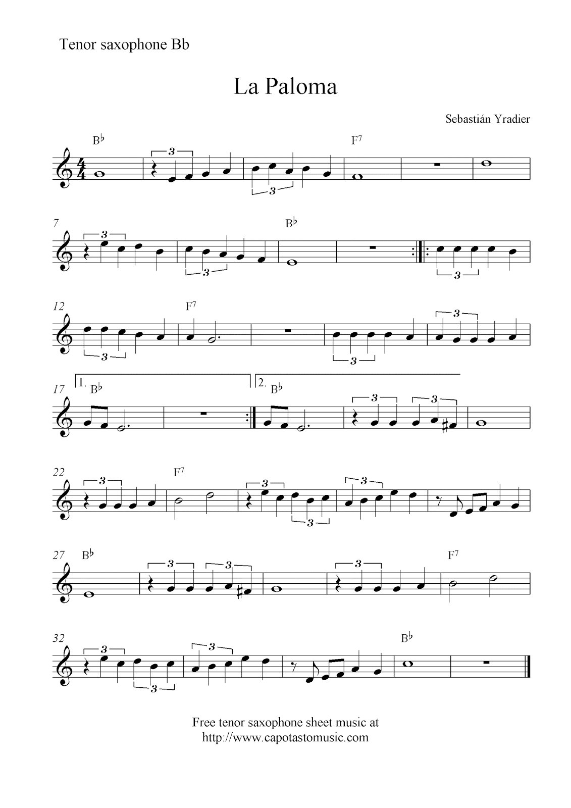 Free tenor saxophone sheet music, La Paloma