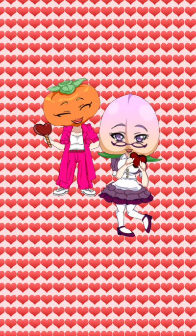 Girls Fruit Valentine Peach & Persimmon