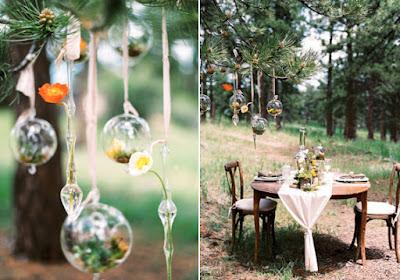 decoration mariage rustique forêt boule en verre ouverte