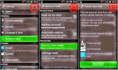 Hard Reset Sony Xperia C C2305 using menu