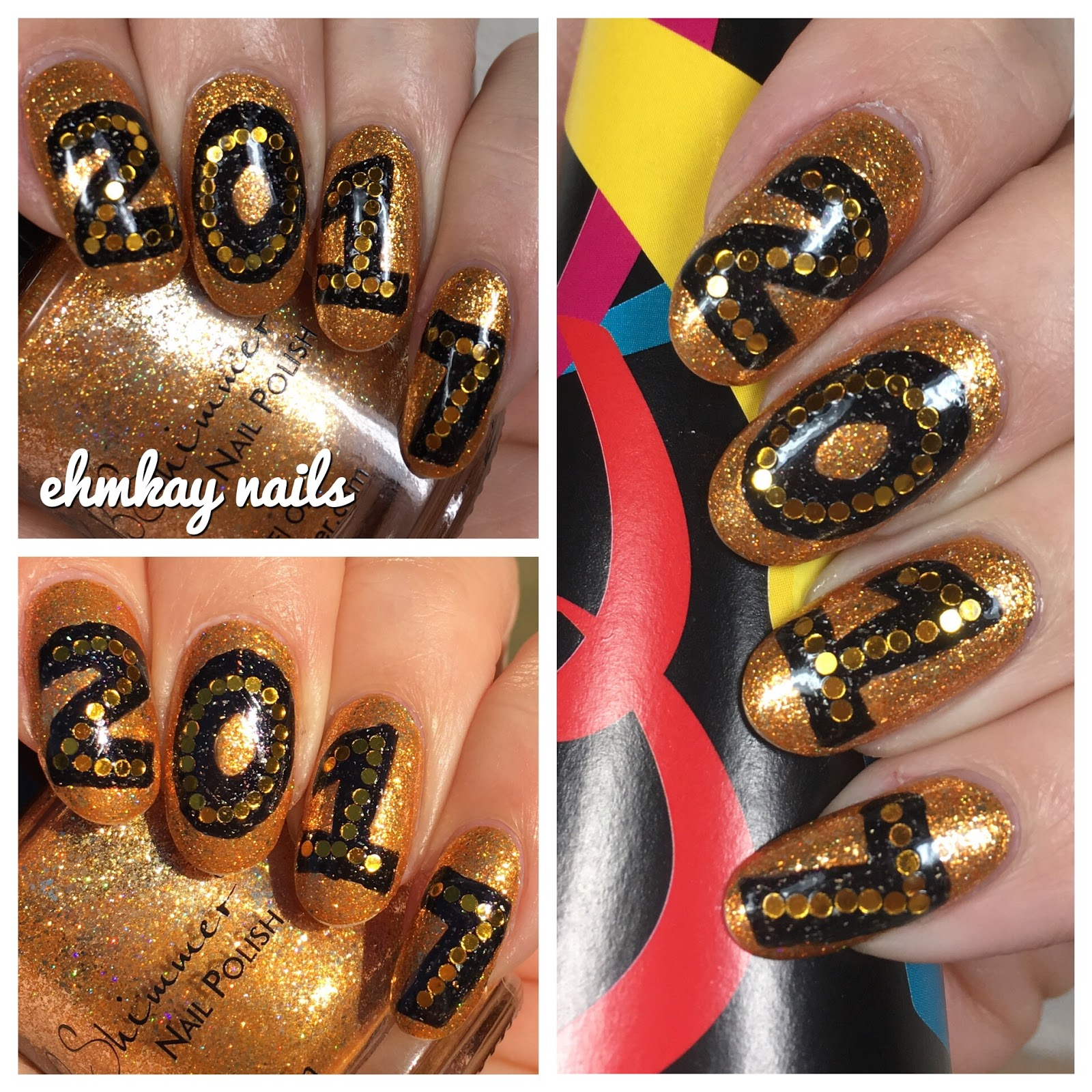 Ehmkay nails welcome to 2017 nail art i reversed the color of my base because the moment i swatched kbshimmer whiskey business i knew it had to be my new years eve manicure prinsesfo Images