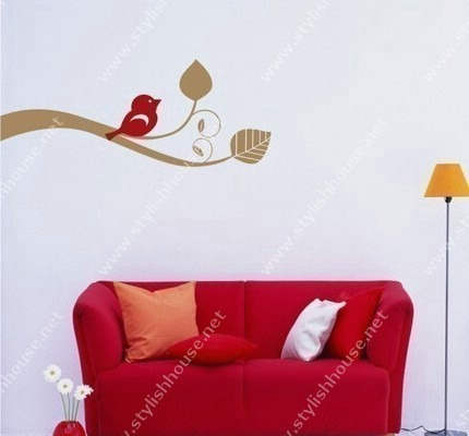 Stylish tree leave wall stickers for living room walls
