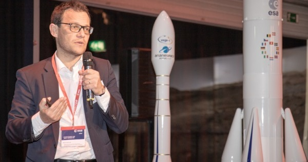 Daniel Neuenschwander, ESA's Director of Space Transportation and Stéphane Israël, CEO at Arianespace welcomed about 100 attendees to a conference on Ariane 6 and Vega-C for institutional users at ESA-ESTEC in Noordwijk, the Netherlands on 4–5 April 2019. Credit: ESA