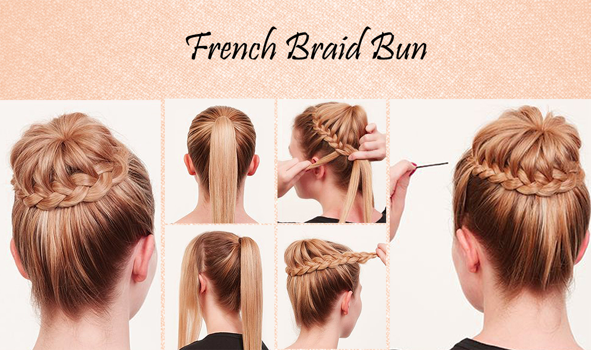 learn quick easy steps to make a suave bedazzled french braid bun. Black Bedroom Furniture Sets. Home Design Ideas