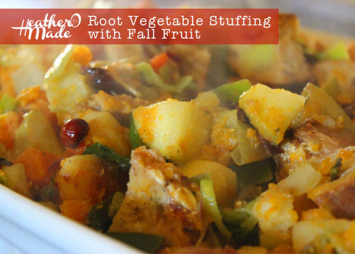 root vegetable stuffing with fall fruit. heatheromade recipe. thanksgiving.