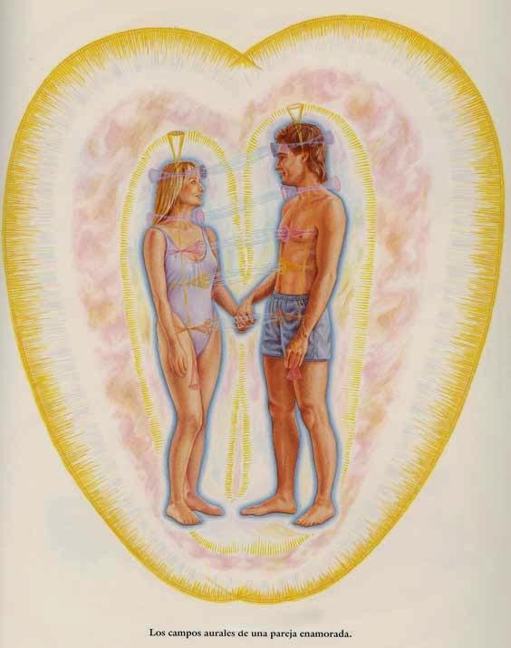 pareja de hombre y mujer cada uno envuelto en su aura y a su vez en un aura mayor conteniéndolos a ambos