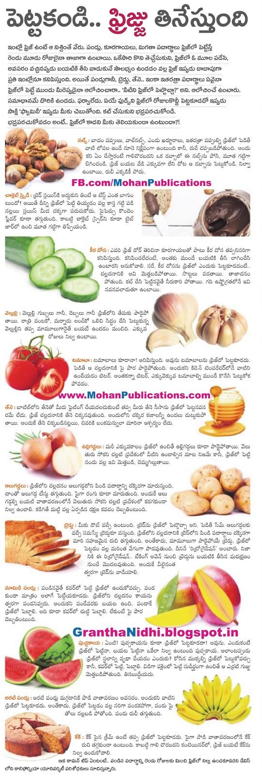 ఫ్రిజ్ లో వీటిని పెట్టొచ్చా | Fridge | Mohanpublications | Granthanidhi | Bhaktipustakalu Fridge Vegetables Fruits Freezing Deep fridge Non Freezing Items Freezing Items Publications in Rajahmundry, Books Publisher in Rajahmundry, Popular Publisher in Rajahmundry, BhaktiPustakalu, Makarandam, Bhakthi Pustakalu, JYOTHISA,VASTU,MANTRA, TANTRA,YANTRA,RASIPALITALU, BHAKTI,LEELA,BHAKTHI SONGS, BHAKTHI,LAGNA,PURANA,NOMULU, VRATHAMULU,POOJALU,  KALABHAIRAVAGURU, SAHASRANAMAMULU,KAVACHAMULU, ASHTORAPUJA,KALASAPUJALU, KUJA DOSHA,DASAMAHAVIDYA, SADHANALU,MOHAN PUBLICATIONS, RAJAHMUNDRY BOOK STORE, BOOKS,DEVOTIONAL BOOKS, KALABHAIRAVA GURU,KALABHAIRAVA, RAJAMAHENDRAVARAM,GODAVARI,GOWTHAMI, FORTGATE,KOTAGUMMAM,GODAVARI RAILWAY STATION, PRINT BOOKS,E BOOKS,PDF BOOKS, FREE PDF BOOKS,BHAKTHI MANDARAM,GRANTHANIDHI, GRANDANIDI,GRANDHANIDHI, BHAKTHI PUSTHAKALU, BHAKTI PUSTHAKALU, BHAKTHI