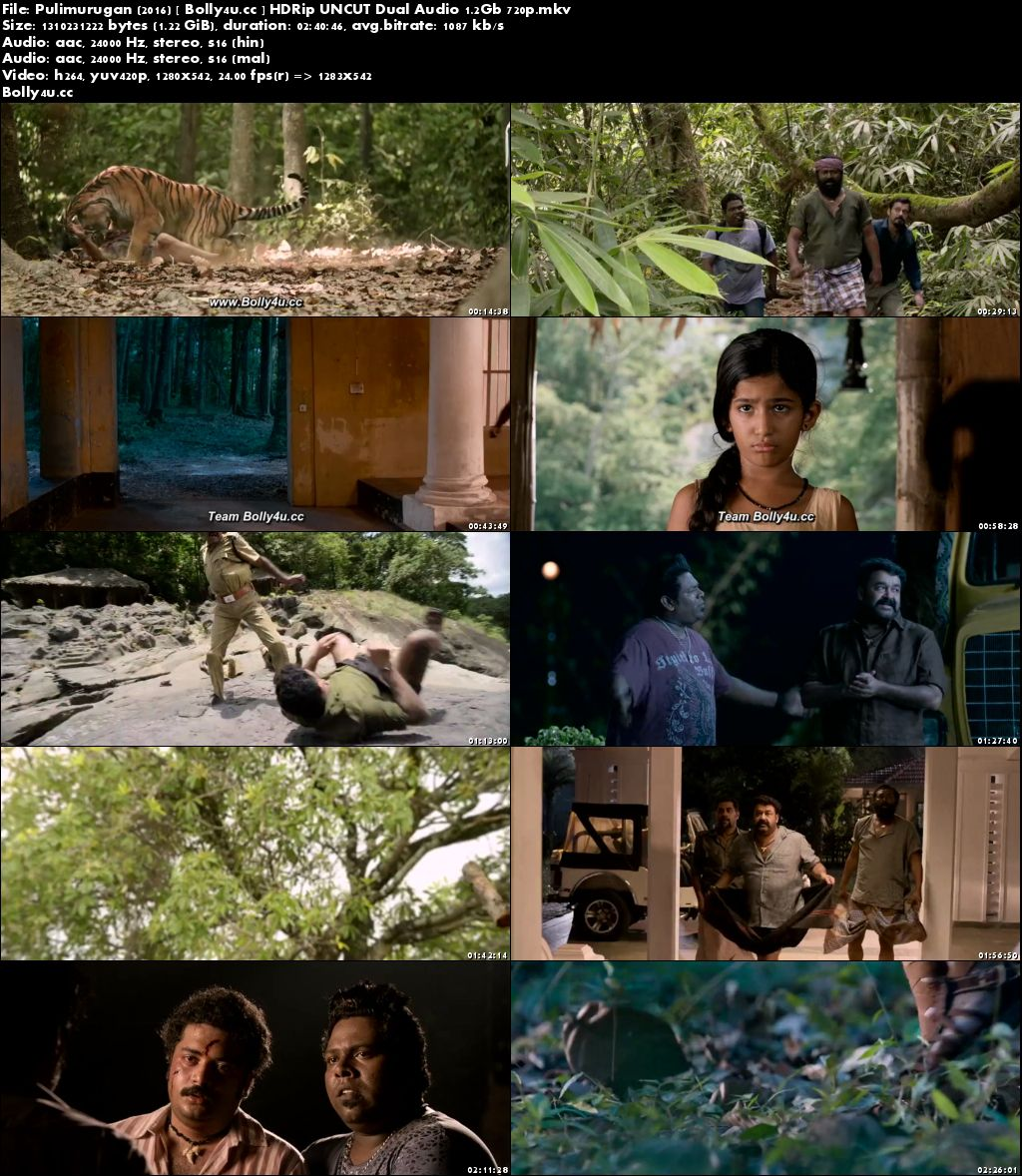 Pulimurugan 2016 HDRip 500Mb UNCUT Hindi Dual Audio 480p Download