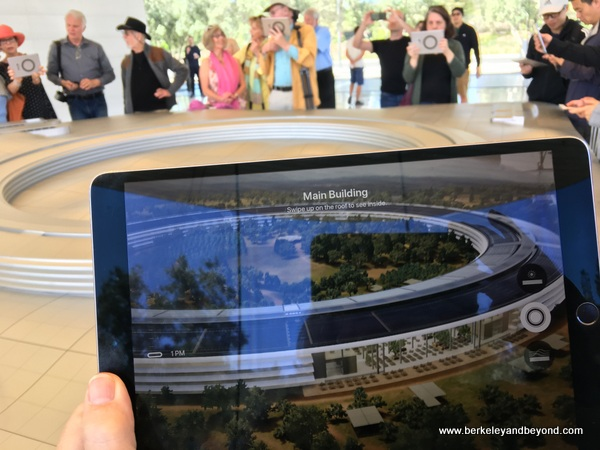 iPads allow viewing augmented reality at Apple Park Visitor Center in Cupertino, California
