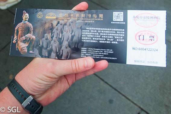 Ticket del museo guerreros de terracota en Xian