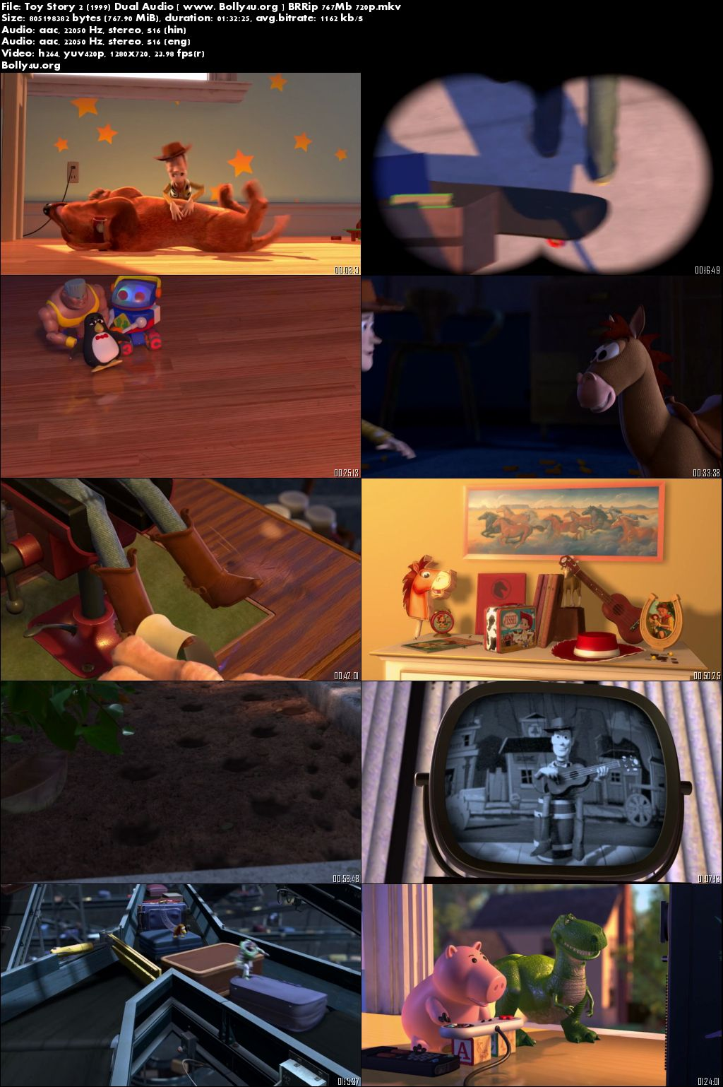 Toy Story 2 (1999) BRRip 300MB 480p Hindi Dual Audio Download
