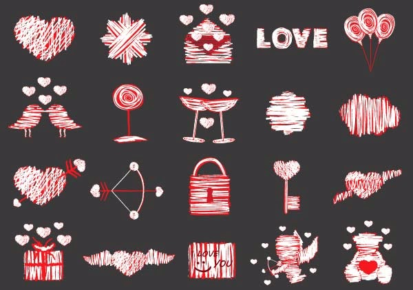 Free Valentine's Day Hearts & Rose Vector Icons