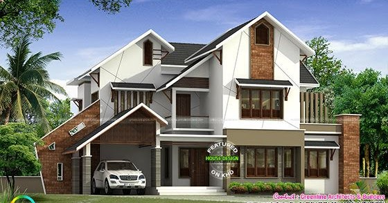 Modern Slanting Roof House By Greenline Kerala Home