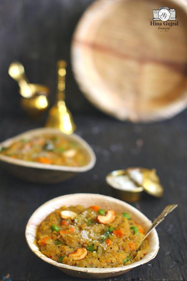 the savory semolina porridge is the staple breakfast as well as teatime delicacy of Karnataka al Khara Bhath (Vegetable Rava Upma)