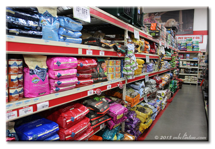 Dog food aisle in Tractor Supply Co.