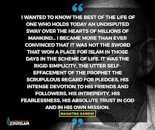 Mahatma Gandhi about Muhammad PBUH