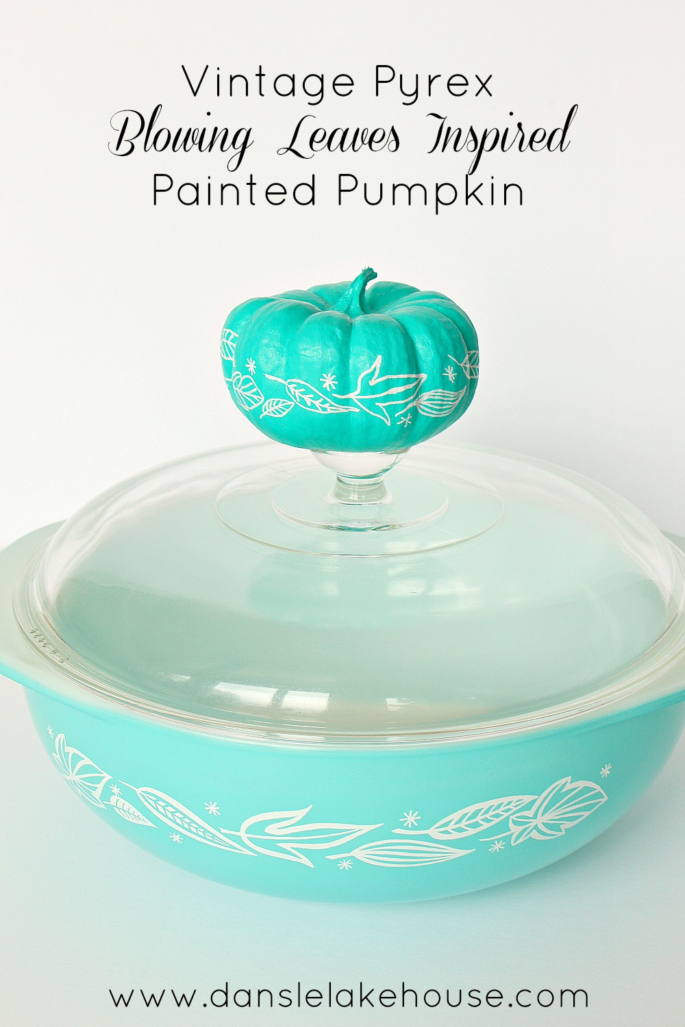 Pyrex Inspired Painted Pumpkin for Halloween