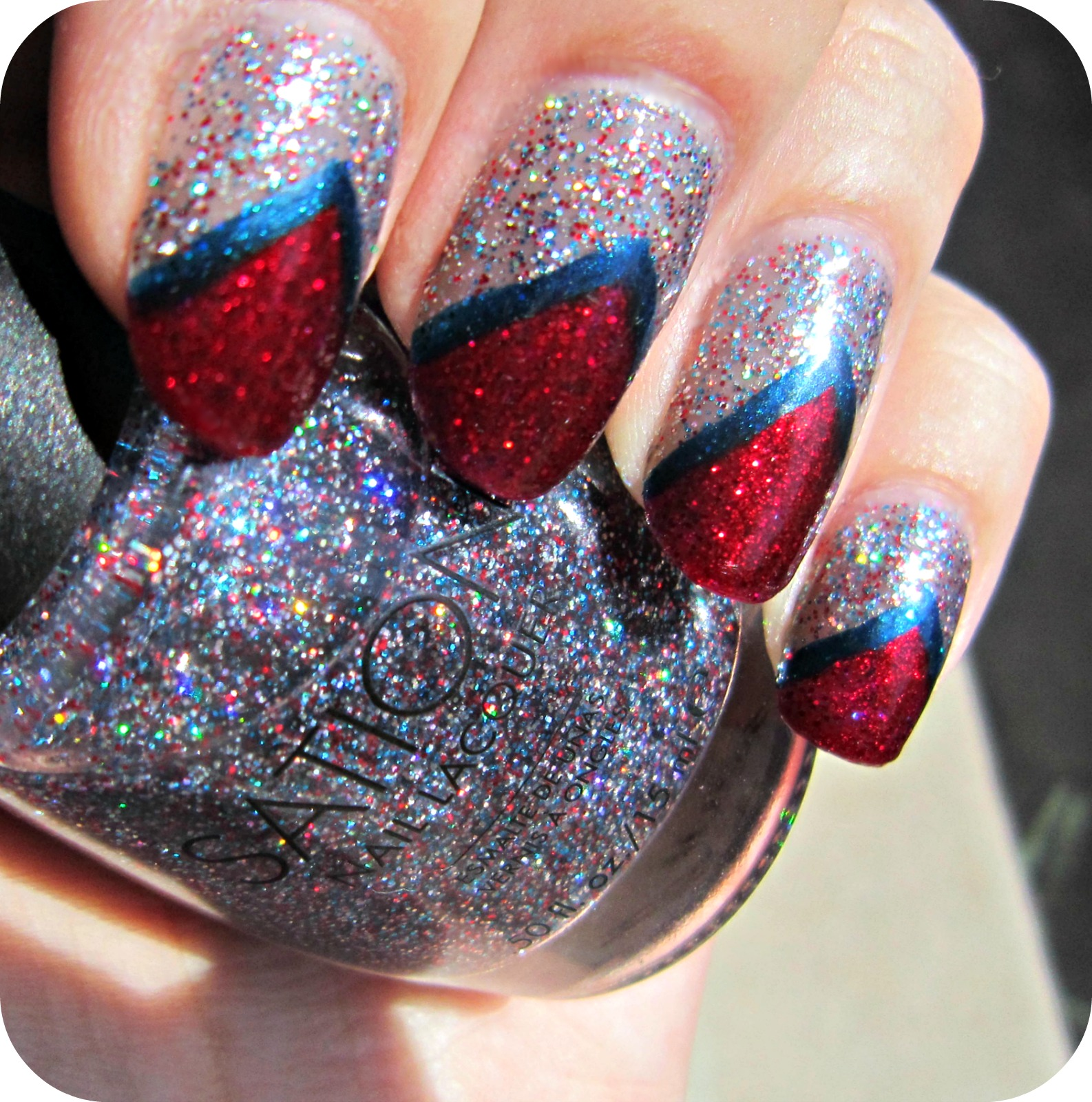 Nail Art Blue And Red: Concrete And Nail Polish: Red, White, & Blue Nails