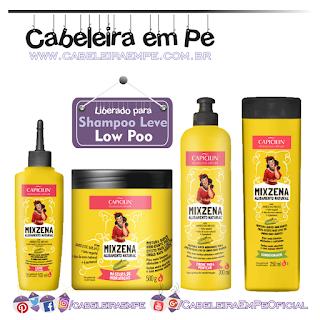 Composição Máscara, Condicionador, Creme para Pentear e Leite Mixzena - Capicilin (Low Poo)