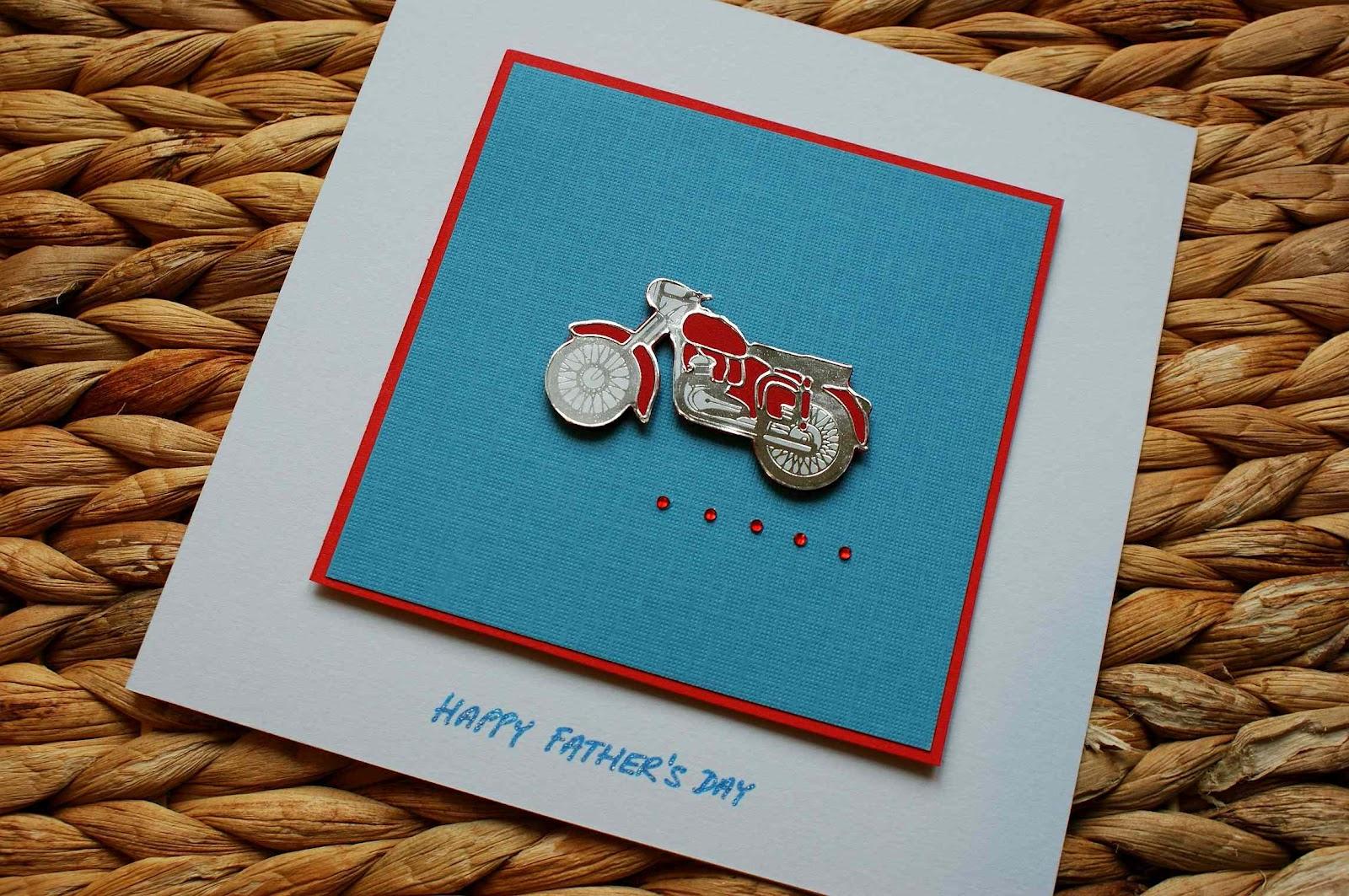 "craft magic handmade ""happy father's day"" card  motorbike"