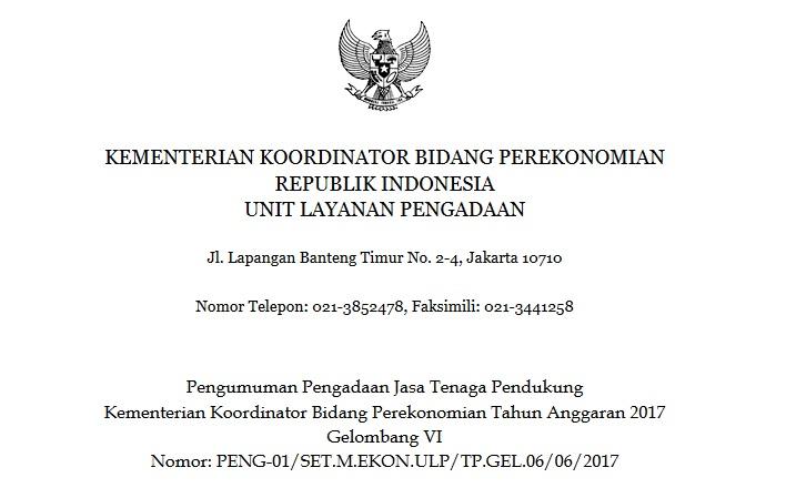 Penerimaan Kementerian Koordinator Bidang Perekonomian Non CPNS