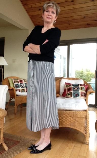 Black and white A.L.C. midi skirt with black Banana Republic sweater