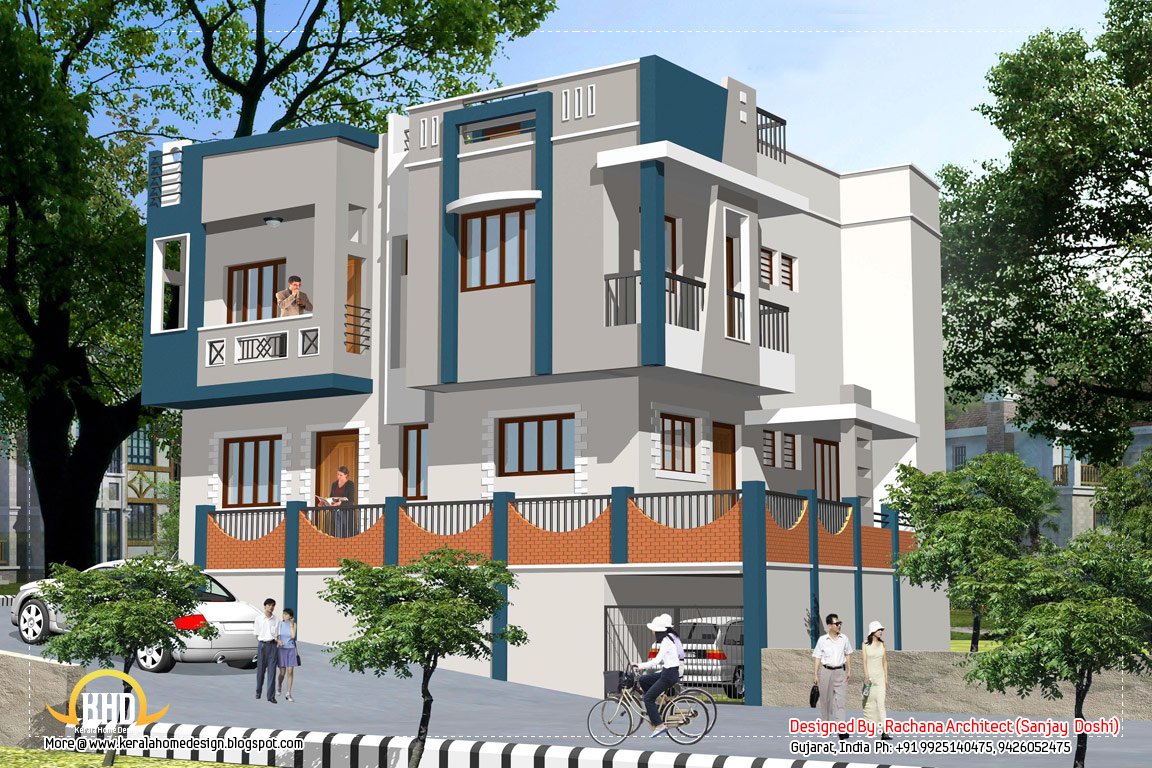 Indian home design with house plan 2435 sq ft kerala Indian home exterior design photos