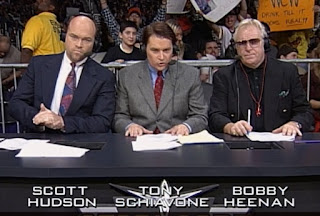 WCW Starrcade 1999 - Scott Hudson, Tony Schiavone and Bobby 'The Brain' Heenan called the action