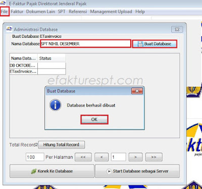 Cara Buat Database Baru e-Faktur