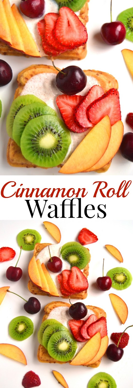 Cinnamon Roll Waffles take 5 minutes to make and are loaded with sweet cinnamon Greek yogurt and topped with fresh fruit for an easy breakfast! www.nutritionistreviews.com