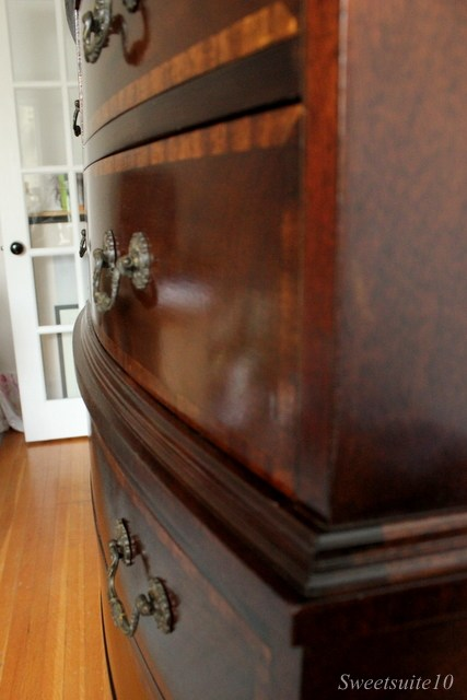 Detail of refinished dresser