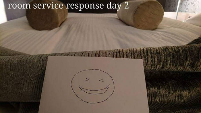 Bored Business Traveler 'Challenges' His Housekeeper In A Funny And Creative Way - And left him this note