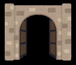 門のイラスト(西洋・半開き)