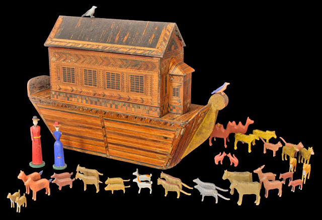 Image of 19th-century German Noah's ark toy with colourful wooden animals