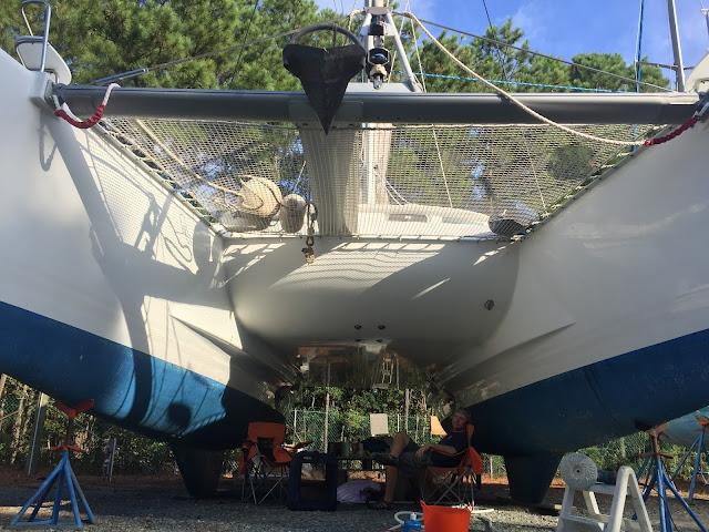 Lagoon 380 sail catamaran in the boat yard