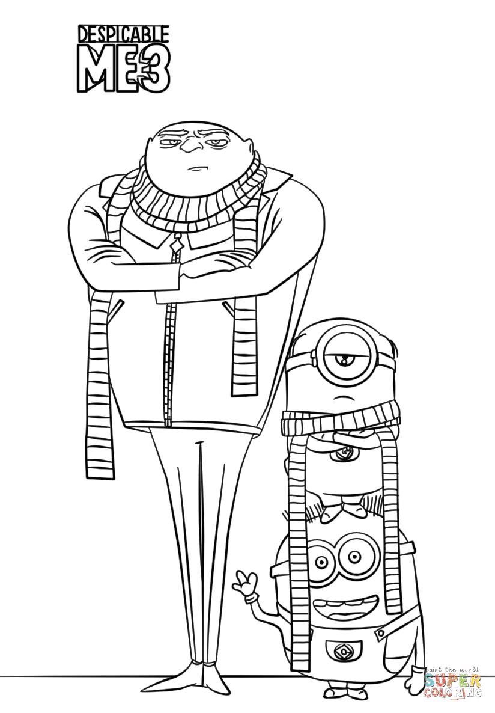 Ba da web meu malvado favorito 3 desenhos para colorir for Minions immagini da stampare