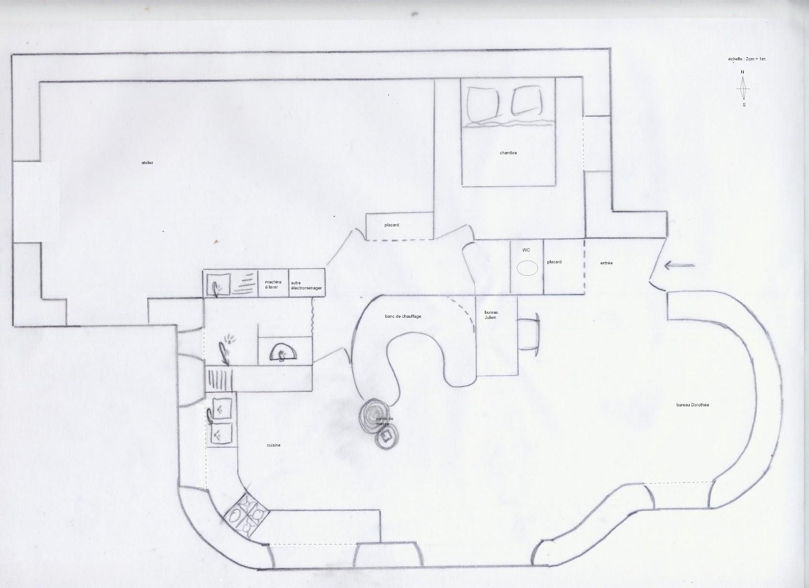 maison terre et paille plan au sol. Black Bedroom Furniture Sets. Home Design Ideas