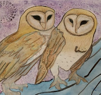 picture of 2 barn owls in the art piece