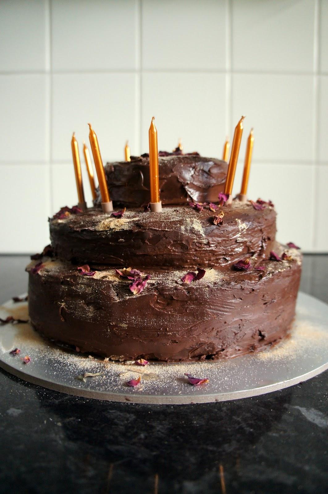 Tiered Orange Sponge Cake With Chocolate Ganache Icing
