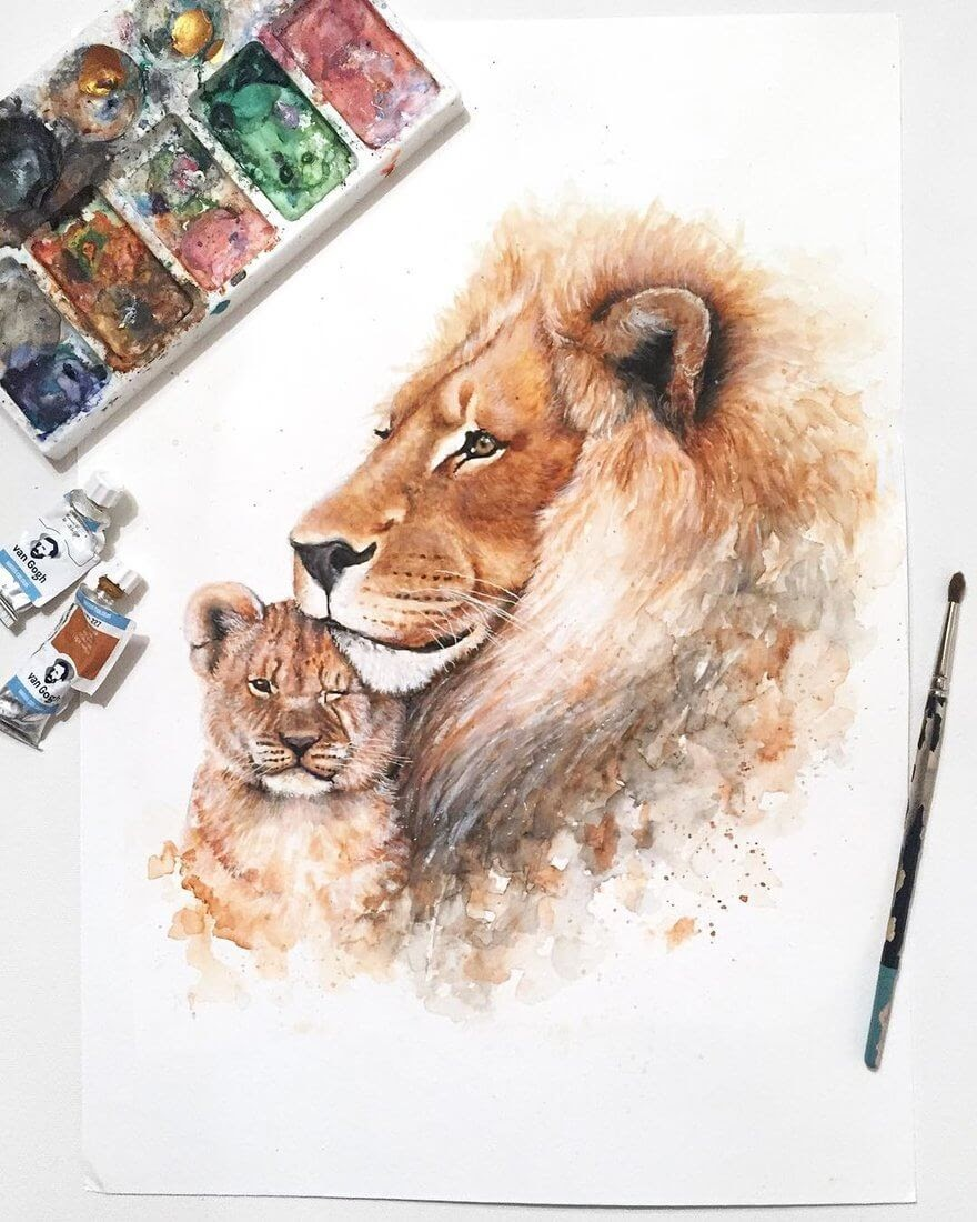 05-Lion-and-Cub-K-Schwarzoviously-Wildlife-Animal-Paintings-www-designstack-co