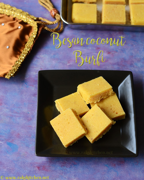 Besan coconut burfi recipe