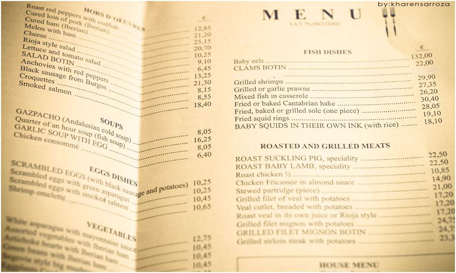 Botin Restaurant Menu Prices