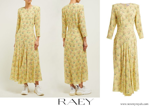Kate Middleton wore RAEY Bracelet sleeve acid tree print silk dress