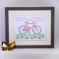 Bike stitching on card embroidery paper pricking pattern