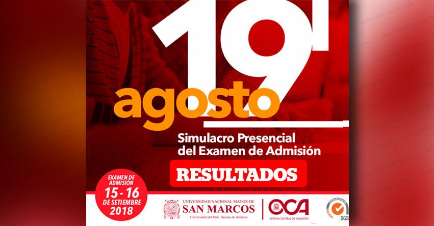 UNMSM: Resultados Simulacro 2019-1 (Domingo 19 Agosto) Lista Aprobados Simulacro Presencial Descentralizado de Examen de Admisión - Universidad Nacional Mayor de San Marcos - www.unmsm.edu.pe