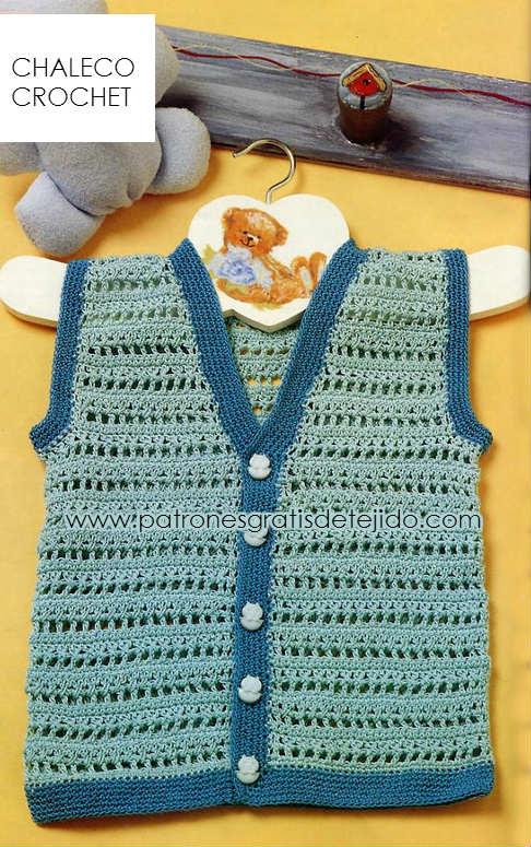 moldes y patrones de chaleco bebe para tejer al crochet